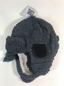 e255dc12e0132 Image is loading NEW-MUK-LUKS-Knit-TRAPPER-HAT-MENS-GRAY-