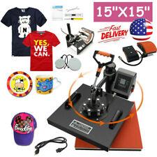 15x15 5in1 Combo T Shirt Heat Press Transfer Machine Sublimation Printer Usa