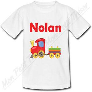 2c4862ede5c64 ... T-shirt-Enfant-Petit-Train-avec-Prenom-Personnalise