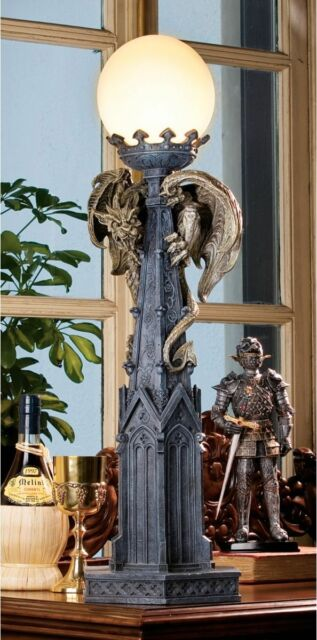 "24"" Mythical Creature Lofty Architecture Gothic Gargoyle Desktop Lamp Sculpture"