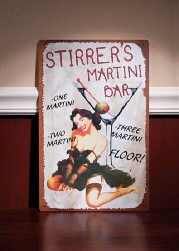Stirrer Martini Girl Pin-Up TIN SIGN vintage rustic bar metal poster wall decor