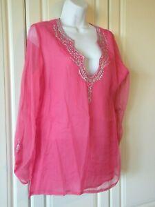 Pink-Chiffon-amp-Sequin-Women-Large-Kurta-Salwar-Kameez-Top-Blouse-Ethnic-Boho