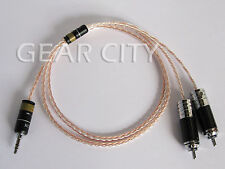 chf7r 1m 3ft Headphone Aux Cable 8 Multi-Core Silver Wire 3.5mm Jack to RCA Plug