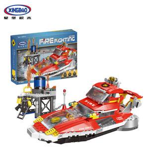 Xingbao-Microblock-Toys-Baukaesten-Rot-Feuer-Boot-Boat-Modell-Spielzeug-666PCS