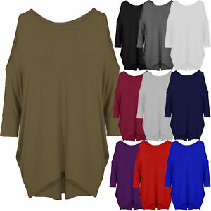 81c442af0f19 Womens Ladies Cut Out Cold Shoulder Batwing Long Top Tunic Loose ...