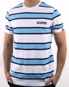 2ec0116ea578 Ellesse Pluto Striped T Shirt in White & Blue - pique cotton short ...