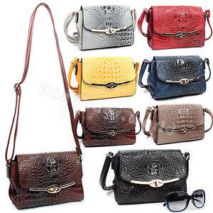 Ladies-Faux-Leather-Croc-Pattern-Cross-Body-Satchel-Bag