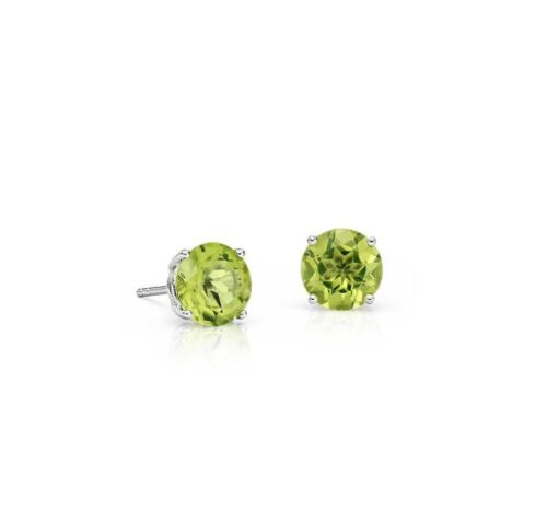 Details about  /6mm Natural Green Peridot Gemstone 14kt Stud Earrings 2ctw