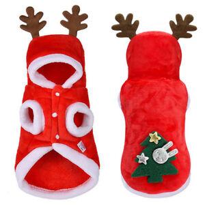 162daa11f905 Christmas Small Pet Dog Hoodies Elf Cosplay Soft Warm Costume Xmas ...