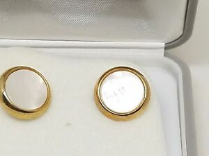 Gold-Tone-Foster-Vintage-Mother-of-Pearl-Cufflinks-Cuff-Links