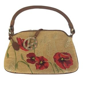 100-VALENTINO-BEIGE-STRAW-WEAVE-amp-LEATHER-HANDBAG-POPPY-FLOWERS-DESIGN