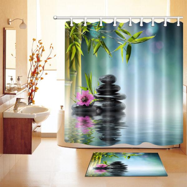 Waterproof Fabric Health Spa Zen Shower Curtain Liner Bathroom Bath