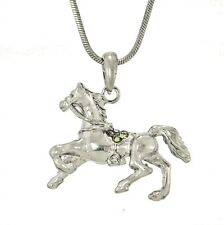 """w Swarovski Crystal Horse Mustang Rodeo Cowboy Cowgirl 18"""" Chain Necklace Gift"""