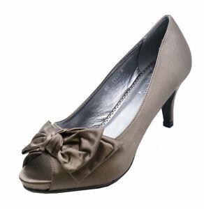 LADIES-KHAKI-SATIN-PEEP-TOE-SLIP-ON-LOW-HEEL-COURT-SMART-WORK-SHOES-SIZES-3-8