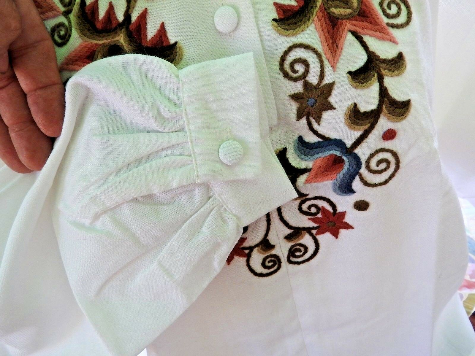 Vintage 80's Blouse Embroidery Hungarian Traditio… - image 7