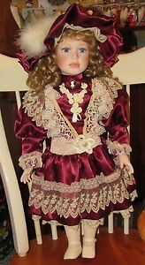 ~Large Beautiful Girl Collector's Porcelain Doll Maroon Dress Blond Hair~