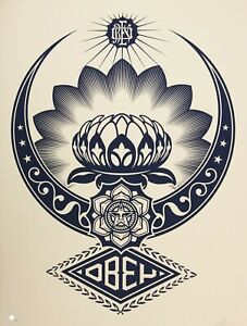 SHEPARD-FAIREY-hand-signed-LOTUS-ORNAMENT-Large-Format-Screenprint-obey-giant