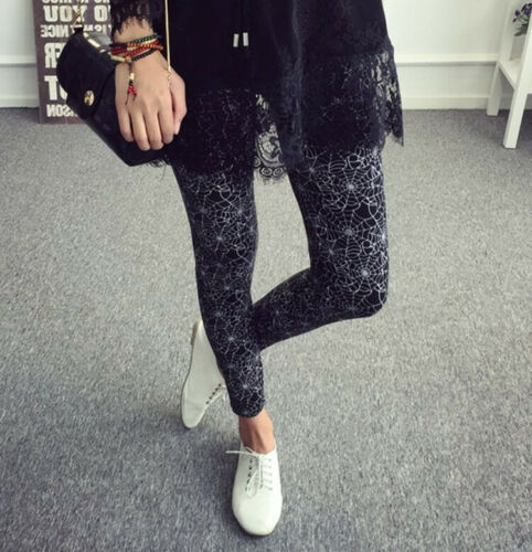 Soft Gothic Buttery-Soft Spider Web Printed Girls Leggings Women Yoga GYM Pants
