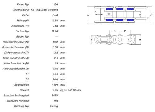 AFAM kettensatz Acier 530 xsr2-g 17x38 Kettenkit-Yamaha XJR 1300 1998-01