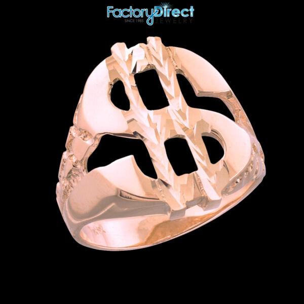 10k/14k Weiss Gold Dollarzeichen Klumpen Ring