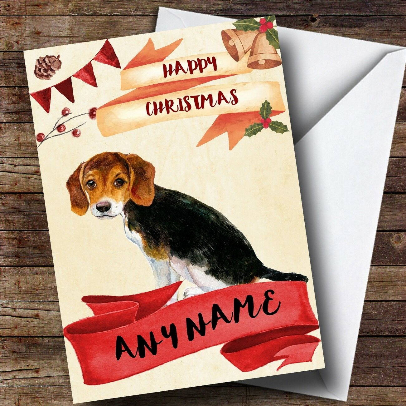 Watercolour Rustic Beagle Dog Personalised Christmas Card | eBay