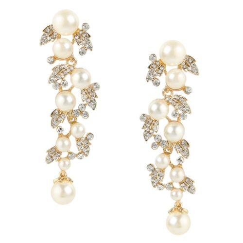 Boda nupcial marfil perla De Lujo Cristal Austriaco Oro Tono Pendientes Colgantes