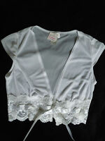 Taboo Size M Sheer Ss Shrug White Ribbon Tie Front Top