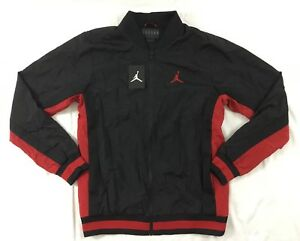 3329959c35f3a Details about Nike Jordan Men's Athletic Rings Full Zip Jacket Black Red  AQ1785 Size M
