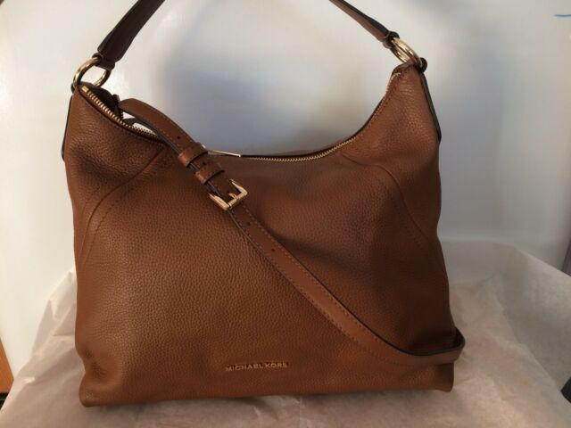 bbcc265c07 Authentic NWT Michael Kors Aria Medium Top Zip Leather Shoulder Crossbody  Brown