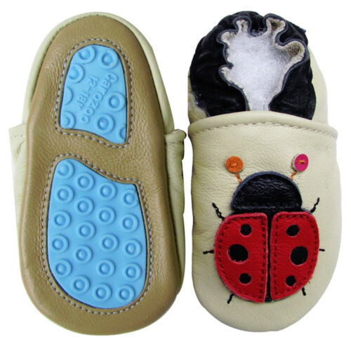 carozoo UK soft  leather baby shoes//slippers rubber sole outdoor//indoor up to 4y