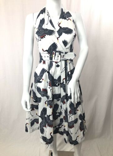 Women's Unique Vintage Crane Print Halter Dress -