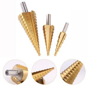 1-3Pz-Fresa-Cornice-Punte-a-Gradino-4-12-4-20-4-32mm-Trapano-Rivestito-Titanio