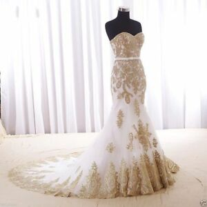 Details about Plus Size Gold Lace Applique White Mermaid Wedding Dresses  Bridal Gown Custom