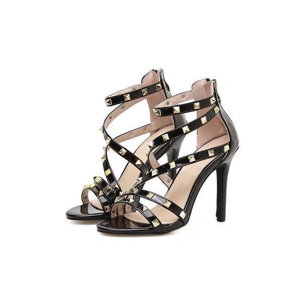 Sandali eleganti tacco stiletto 11 cm nero borchie simil pelle eleganti 9721
