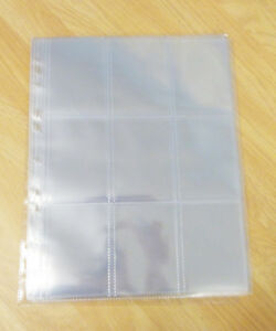 30 x Clear Plastic Sleeves - Trading Cards, 9 Pocket, Album Sleeves, Collector