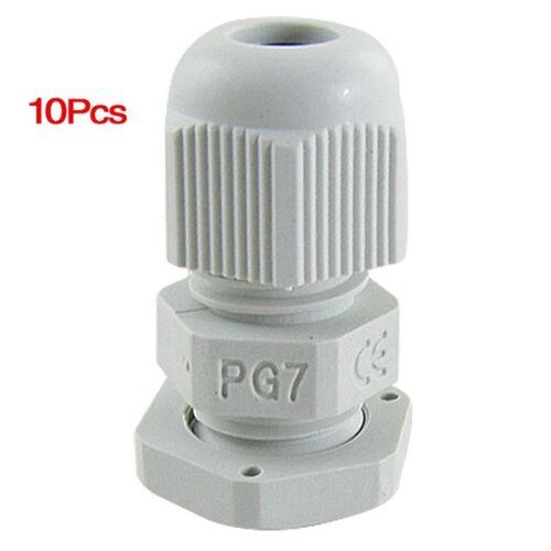 10 Stueck 3-6.5mm Kabel PG7 Wasserdichter Weisser Kunststoff Verschraubung X1Q3