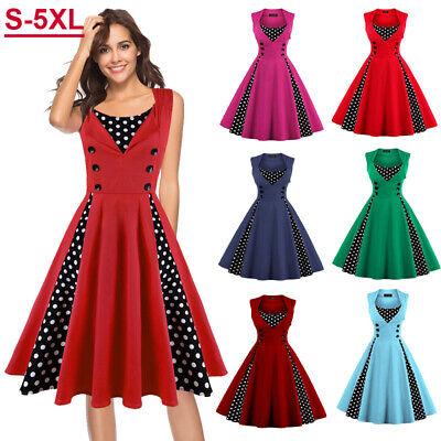 Plus Size Women Sleeveless Polka Dot Hepburn Swing Summer Rockabilly Pinup  Dress | eBay