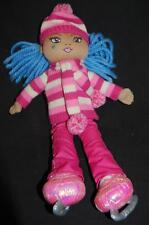 """CHILDREN'S PLACE ICE SKATER DOLL PINK STRIPED 13"""" SWEATER CAP PLUSH BLUE HAIR"""