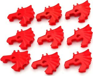 Lego-Lot-Of-9-Rouge-Chateau-Chevalier-Mini-Figurine-Cheval-Casques-Pieces
