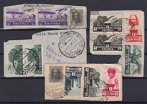ERITREA 1936 ITALIAN COLONIES STOCK CANCELLED USATI SU FRAMMENTO PIECE VEDI FOTO