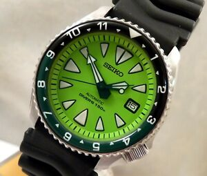 Seiko Shocking Lime Ceramic New Monster Divers Date Automatic Watch Custom 7002
