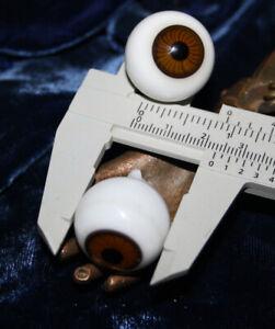 "22 mm Lauscha 7//8/"" Antique pair brown glass Doll Eyes diameter c"