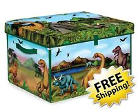 Dinosaur Playroom Organizer Jurassic Storage Collector Toy Box Playset 2 Dinos
