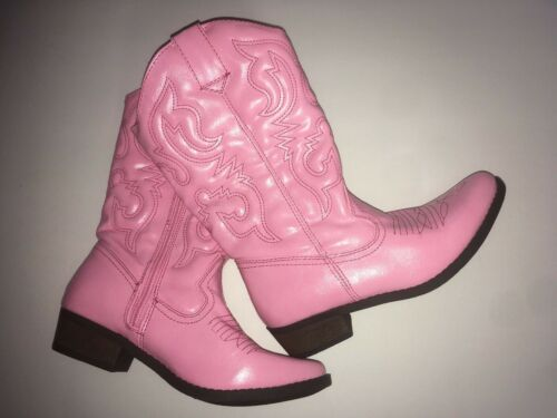 Cherokee Girls Pink Mid-Calf Heeled Cowgirl Boots Youth Size 5