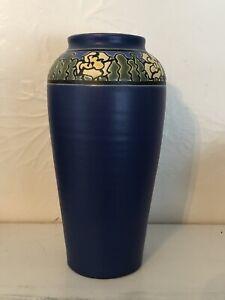 Ephraim-Faience-Pottery-New-Spring-Daffodil-Vase-8-75-x-4-5-041-Cobalt-Glaze
