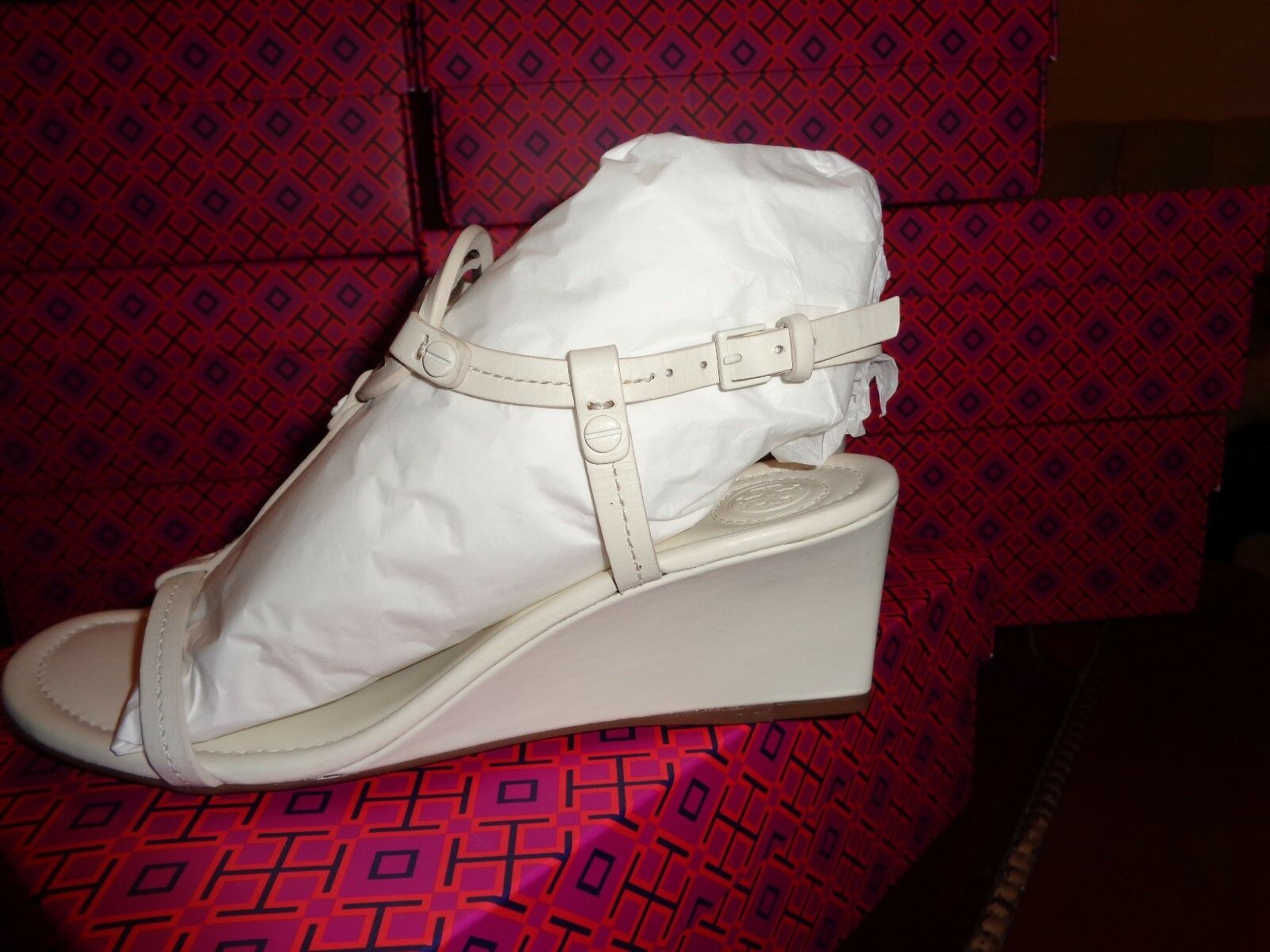 NIB TORY TORY TORY BURCH  MILLER  60MM WEDGE Sandal  NAPP BLEACH Weiß Leather Sz 10   265 7ff591
