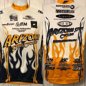 Voler Arizona State Men s Cycling Jersey Bicycle Yellow Sponsored ... 14eee2ee3