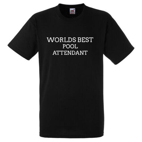 WORLDS BEST POOL ATTENDANT BLACK T SHIRT