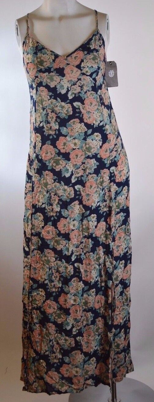 2015 NWT WOMENS ELEMENT FLORAL LONG DRESS  55 M navy multi sleeveless low cut