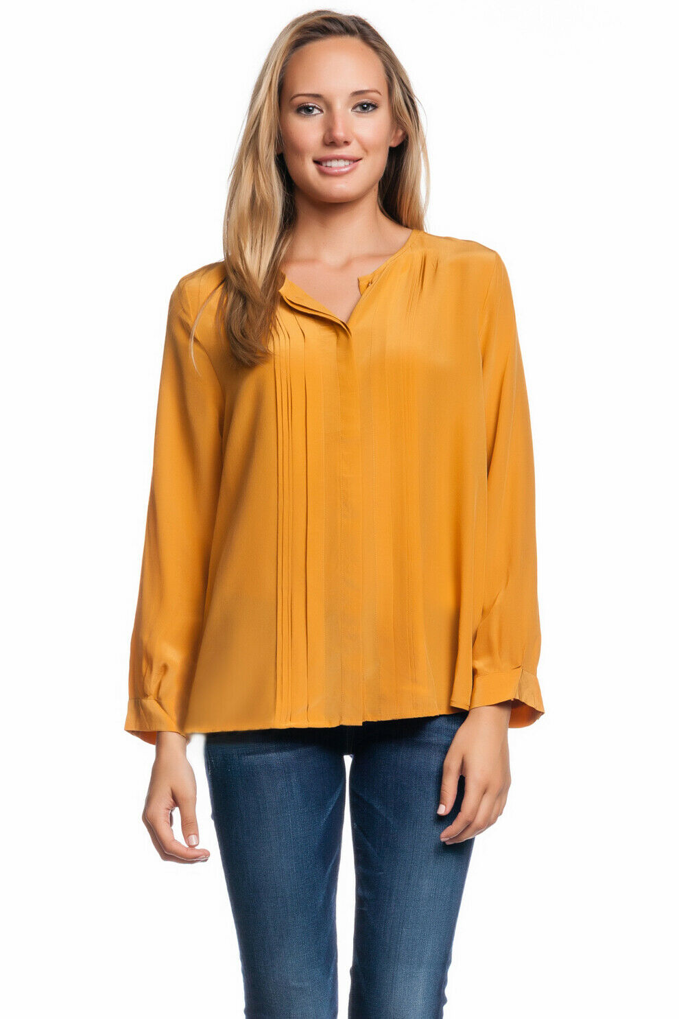 Joie Mellea Blouse golden Amber Pleats Silk Crepe Yellow Button Down Top Blouse